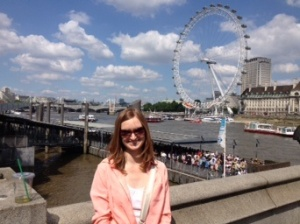 At the Westminster stop of the Thames River boat tour. London Eye behind me.