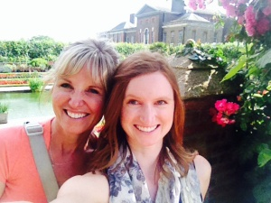 Mom and me at the sunken gardens of Kensington Palace, London home to Prince William and Princess Kate.
