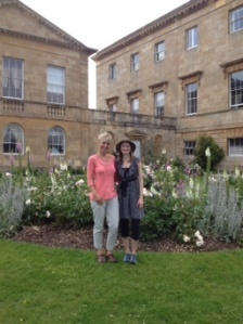 Mom and me in the garden of Basildon Park; we'll host a tea here when we buy the property. ;-)