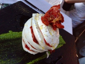 A beautiful and delicious caprese salad in Modena. A.k.a., what I'd like to call the leaning tower of cheese-a.